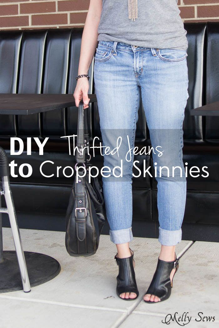 Turn a pair of thrifted jeans into a perfect fit - Flare jeans to skinny jeans - DIY Tutorial by Melly Sews