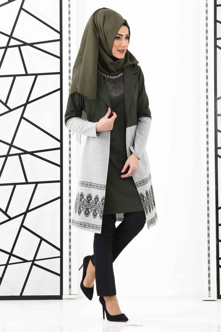 Длинный  пиджак с платьем (хаки) код: 5520TF цена: 3750руб/65$