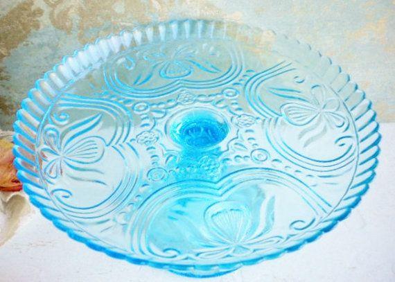 Vintage Aqua Wedding Cake Stand/Vintage Glass Wedding Cake