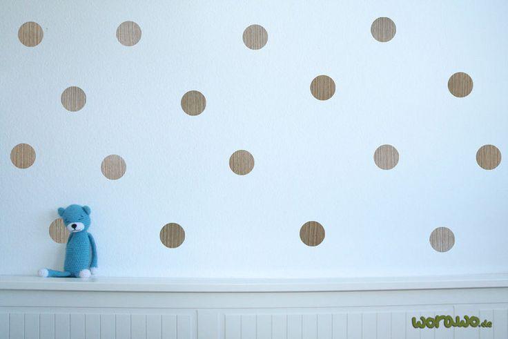 Wandtattoo - Wandtattoo Holz-Punkte (25Stk. je ca.6cm ) - ein Designerstück von jumeaux-design bei DaWanda