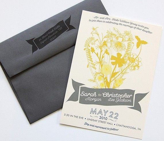 #wedding #invite #designIdeas, Dapper Paper, Grey Wedding, Yellow Invitations, Pretty Flower, Wedding Invitation Design, Wedding Invitations Design, Yellow Flower, Grey Envelopes