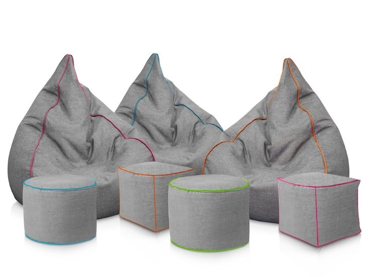 These Grey Stone Wash Bean Bag Chairs Come With A Separate Foot Stool Making Them Ideal For Any Living Room