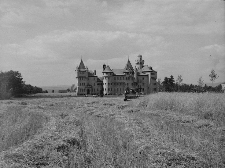 Vue de la prison en 1949 depuis le chemin Gomin. Le vaste domaine de la prison se prête toujours aux activités agricoles alors que la pression urbaine transforme le paysage dans le secteur (Récolte du seigle. Prison des femmes. Québec, Neuville Bazin . - 1949, BAnQ, Fonds mcc, E6,S7,SS1,P71165).