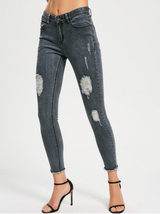 Back to school, back to saving!  Free shipping worldwide!  Skinny Destroyed Pencil Jeans  Zaful, zaful.com, women jeans,denim jeans,ripped jeans, bootcut jeans, flare jeans, destroyed jeans, tapered jeans, ladies jeans, stretch jeans, high rise jeans, low rise jeans, high waisted jeans, straight leg jeans, capri jeans. @zaful Extra 10% OFF Code:ZF2017