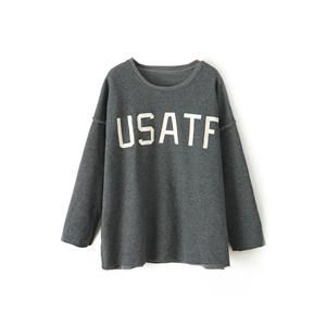 Hoodies/Sweatshirts - USATF Print Long Sleeves Grey Sweatshirt #pariscoming your personal style online store. #outfit #stylist #Styling #streetstyle #fashionblog #fashiondiaries #fashiondiary #WearIt #WhatYouWear ✿ ❀ like it? buy now ❀ ✿
