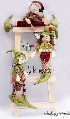 duendes navideños en fieltro con moldes - Buscar con Google