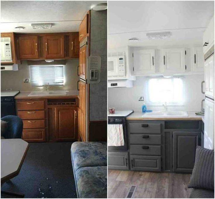 Camper Remodeler Avant Apres Meilleur De Simples Murs De Peinture Reno Et Nouvelle Tapisserie D 39 Camper Trailer Remodel Rv Kitchen Remodel Remodeled Campers