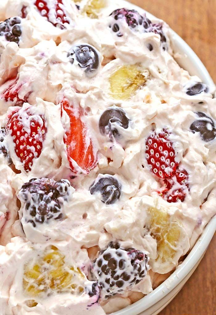 Summer Berry Cheesecake Salad - a must have for all picnics, BBQ's, potlucks, and family get-togethers...