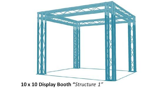 10x10 standard truss trade show booth. #10x10tradeshowbooth #displaytruss #exhibittruss #versatrussplus