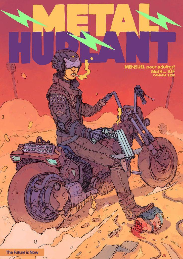Metal Hurlant by f1x-2 Magazine cover celebrates the liberarors - the biker gangs