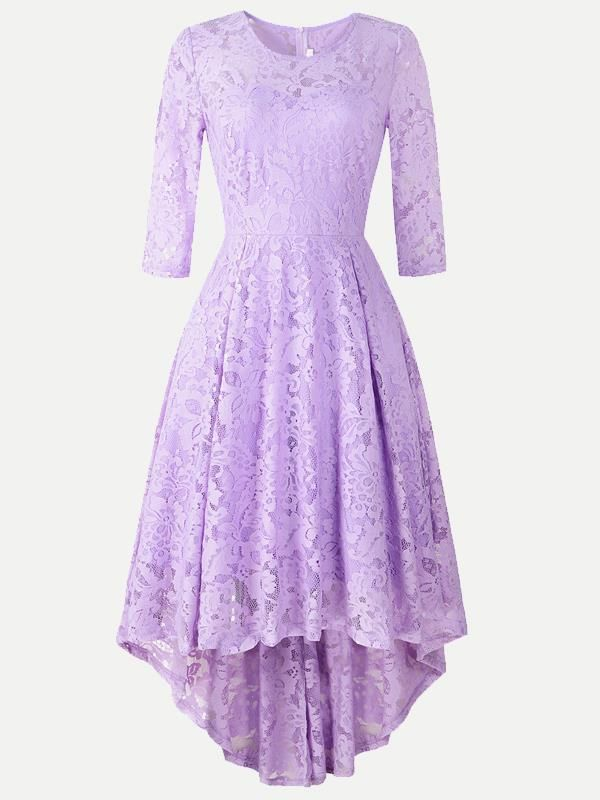 8abcf60fd7b3 Vinfemass Elegant Irregular Hem Lace Party Skater Dress ...