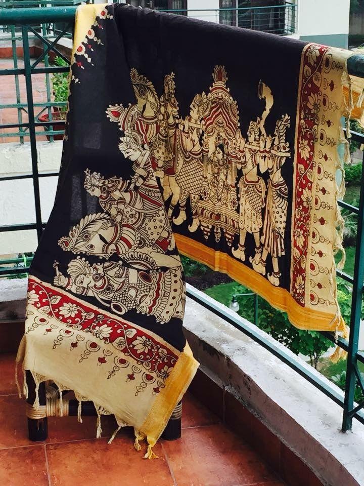 Free the art of frames and drape them around you!!! Kalamkari dupatta!!! ❤️ #meiraas #kalamkari #srikalahasti