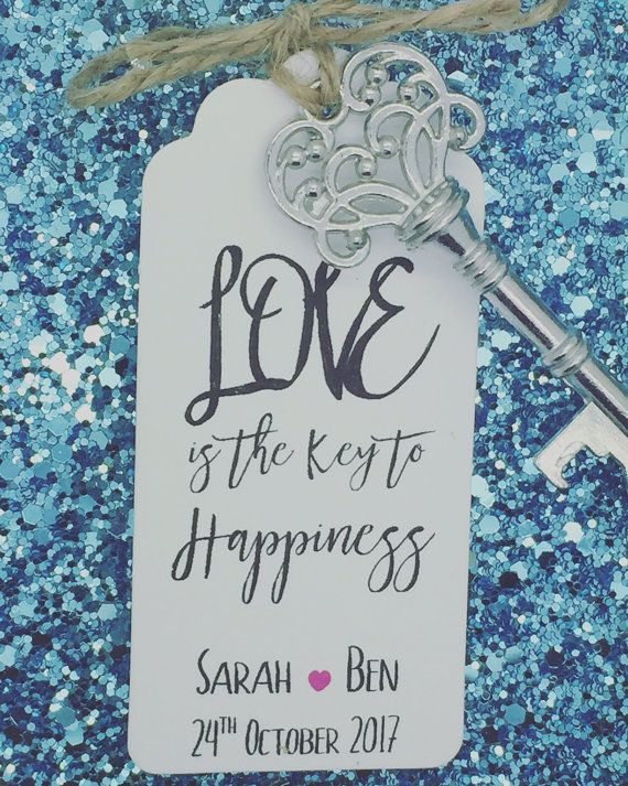 Personalised Skeleton Key Bottle / Beer Opener Wedding Favor Gift Tag / Label