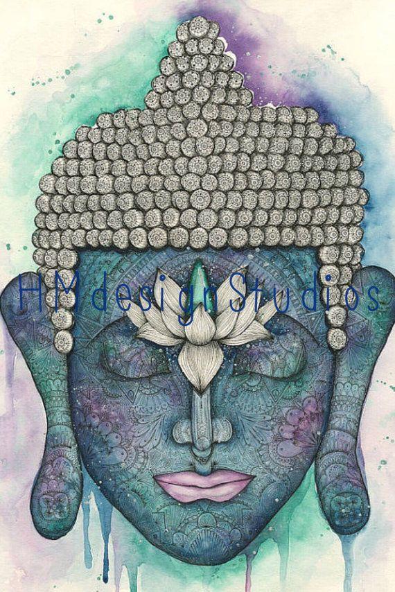 Kosmische Buddha begrenzte Ausgabe 18 x 24 DRUCKEN. Gemälde von Haylee McFarland. Hand verziert, signiert & nummeriert Buddha-Print. Yoga Kunst Budha