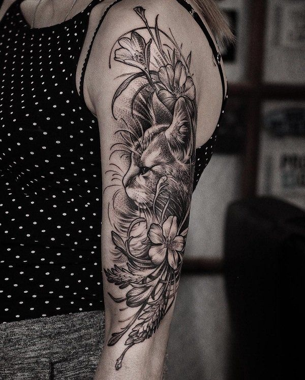 Cat and flower sleeve tattoo - 100+ Examples of Cute Cat Tattoo