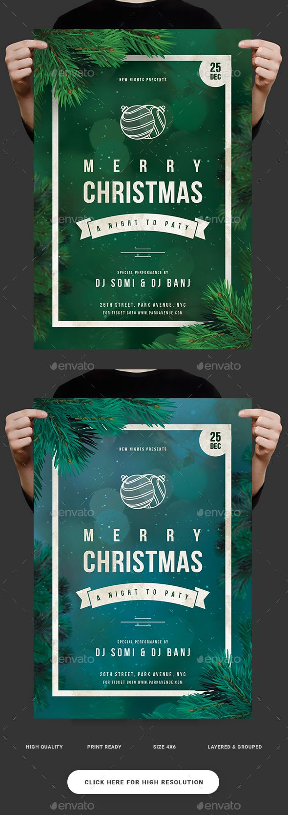 Christmas Party Flyer  — PSD Template #new year invitation #christmas card • Download ➝ https://graphicriver.net/item/christmas-party-flyer/19028866?ref=pxcr