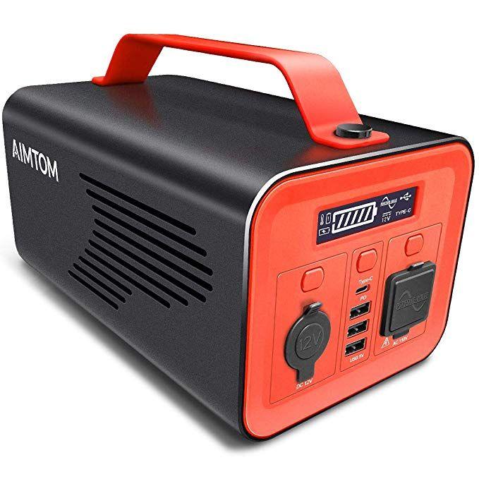 Amazon Com Aimtom 230wh 62400mah Portable Power Station Solar Rechargeable Generator W 110v Ac 12v Car Type C Portable Power Power Station Solar Generator