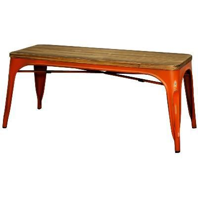 2 Metropolis Bar Pub Metal Bench, Distressed Orange. Accent ChairsOutdoor  FurnitureSan FranciscoBenchesSofas