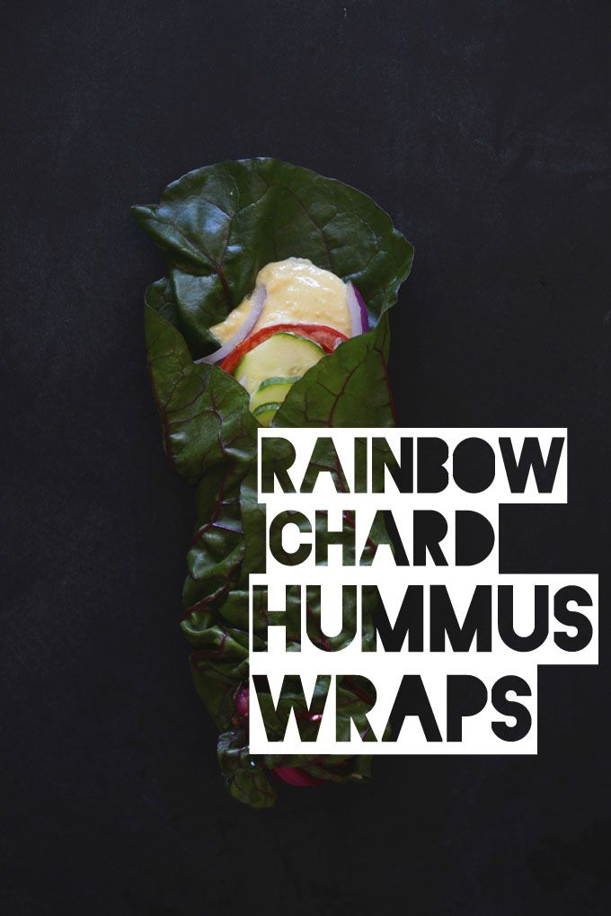 Rainbow Chard Hummus Wraps!!  Such a simple idea, yet so tasty.  Made them with horseradish hummus for a little extra kick.