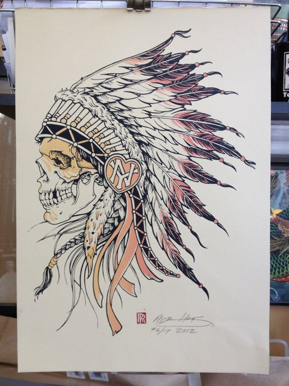 Indian Chief Skull With Warpaint Illustration Tattoos Indian