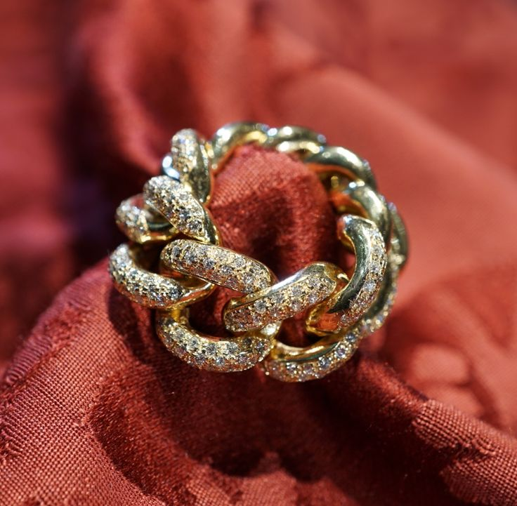 Groumette ring, pink gold 18 kt - diamonds - Dogale jewellery Venezia