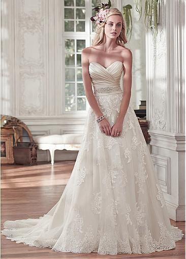 A Line Wedding Dress - beautiful strapless wedding dress