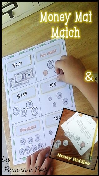 "Money riddle task cards (20) that progressively get more difficult, a student recording sheet, answer key, and paper money as a counting manipulative.  * Money Mats (10): Match the money value. Students can find the money tile with the matching value. Whole groups activity or in centers. Or, play a money bingo! * Money mini books, coin value rhyming posters, a money words ""word bank"", and money related writing stationary."