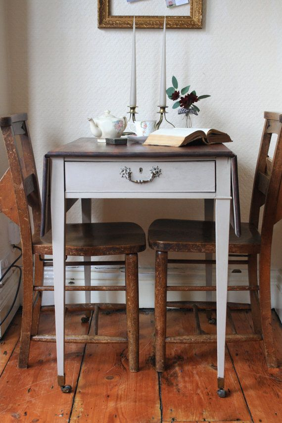 restored vintage drop leaf table on castors with by