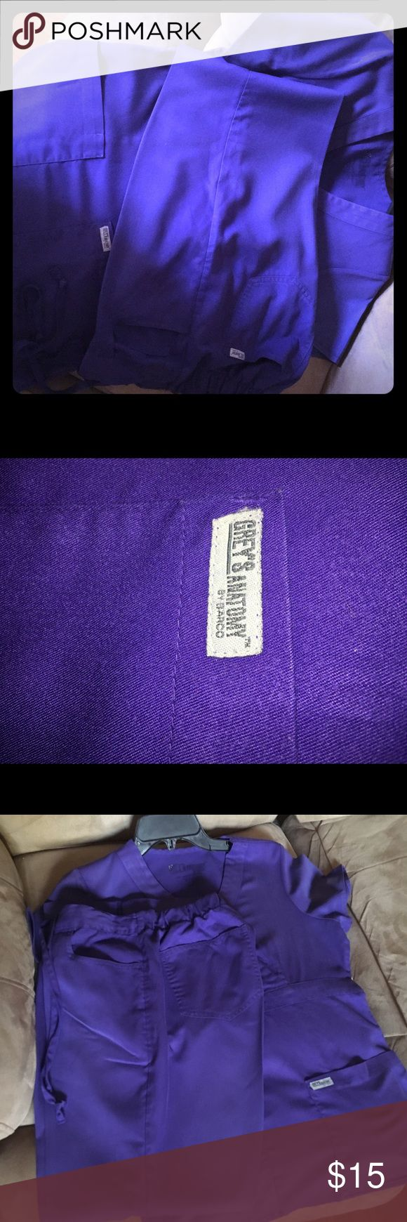 Greys Anatomy purple scrub set Small Soft purple scrub set matching top and bottom. Great condition. Always kept ironed and taken care of. There is a slight tear at bottom of V in top of shirt but is not noticeable when worn. Its inside where no one will see. That's only flaw. Otherwise flawless. Beautiful on. Greys Anatomy Other