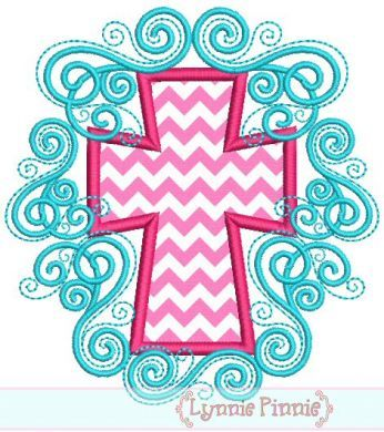 Flourish Cross Applique 4x4 5x7 6x10 7x11 SVG 1 fabric and 2 thread colors .50 includes the swirly background