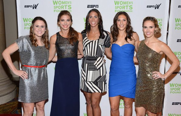 Olympic soccer players Heather O' Reilly, Alexandra Morgan, Shannon Boxx, Carli Lloyd, and Heather Mitts attend the 33rd Annual Salute To Women In Sports Gala at Cipriani Wall Street on October 17, 2012 in New York City.