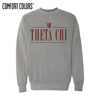 New! Theta Chi Gray Comfort Colors Crewneck