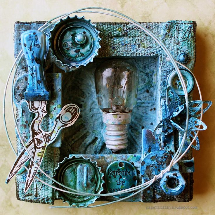 """Paperiliitin - Riikka Kovasin uses the back of a 4x4 Canvas to create this """"Remember the Moments"""" mixed media canvas - Canvas Corp Brands - add all you love to your canvas and then paint it with your favorite color palette - a great way to show off little finds and make them work together.  #4x4challenge #tatteredangels #7gypsies #gypsymoments #Ranger #Talens #canvascorpbrandscrew"""