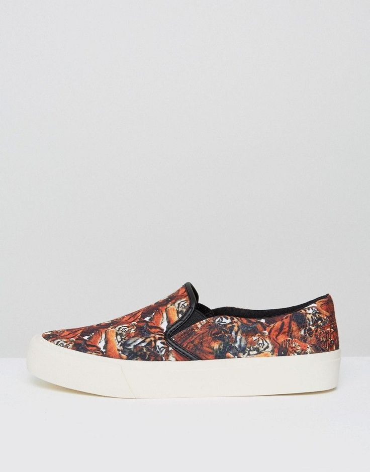 ASOS Slip On Sneakers In Canvas With Tiger Print - Black