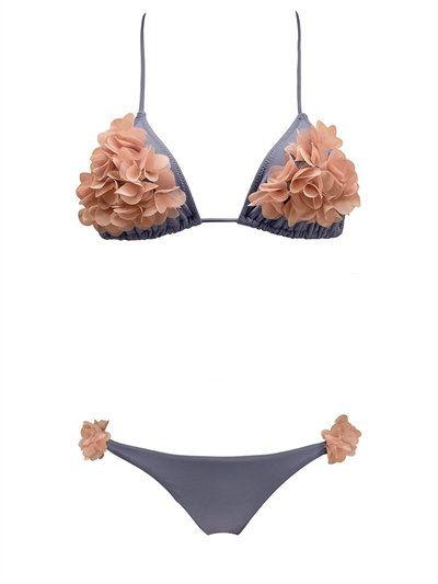 Shayna petal embellished Lycra bikini by La Reveche