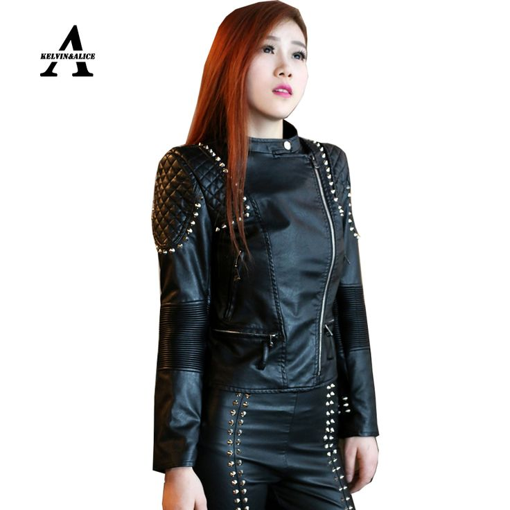 >> Click to Buy << Black Leather Jacket Women Punk Rivets Studded Motorcycle Spiked PU Retro Jackets Cazadora Cuero Mujer Veste Cuir Femme #Affiliate