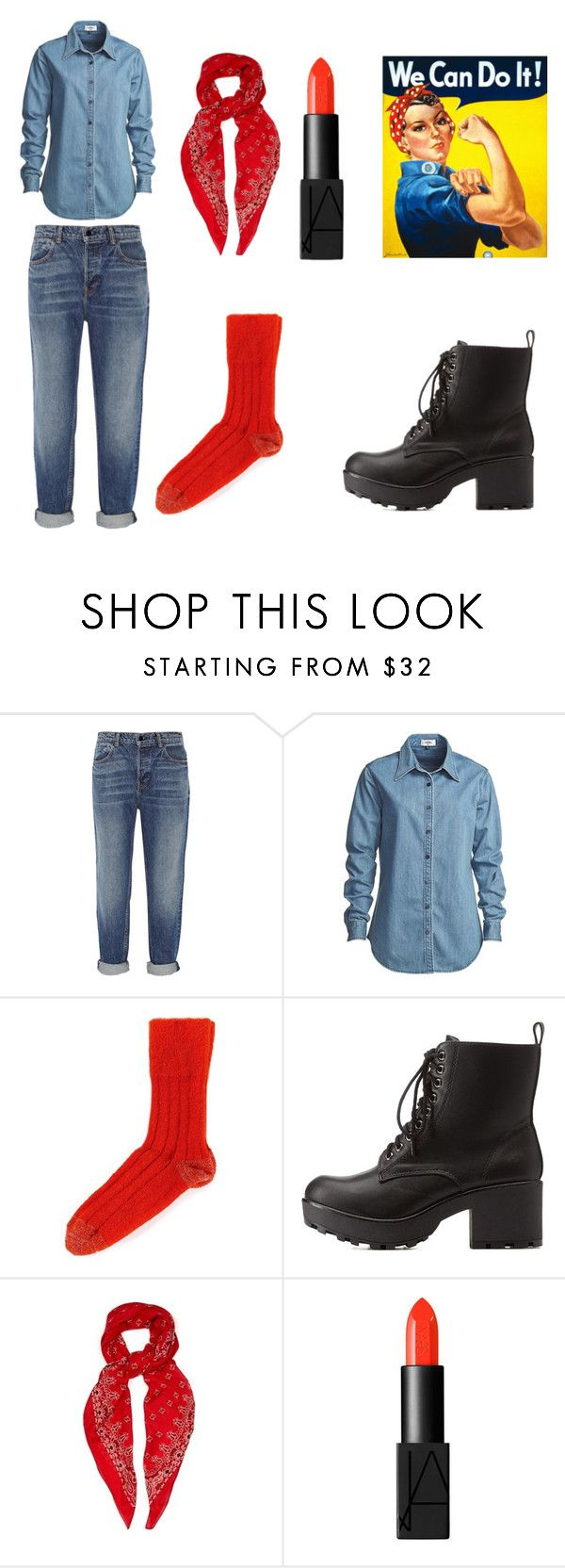 """Rosie the Riveter Easy Halloween Costume"" by theaterflyer ❤ liked on Polyvore featuring Alexander Wang, Vale, Sofie D'hoore, Charlotte Russe, Yves Saint Laurent and NARS Cosmetics"