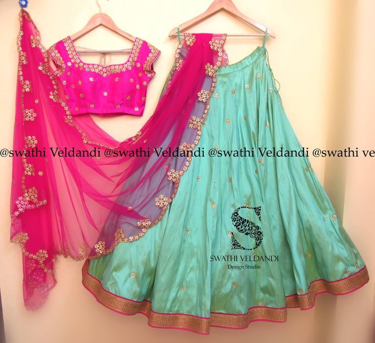Beautiful powder blue color lehenga and pink color designer blouse with hand embroidery work. 25 October 2017