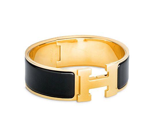 clic clac h hermes wide bracelet black enamel gold plated. Black Bedroom Furniture Sets. Home Design Ideas