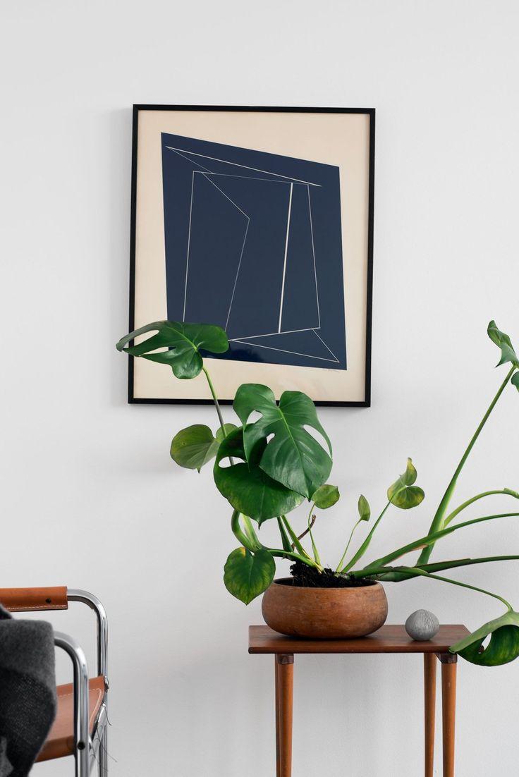 Minimal home staging, nice plant in teak pot / bowl on danish sideboard table