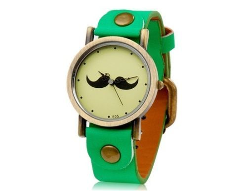 New Fashionable Women's Beard Pattern Round Dial Analog Watch Faux Leather Green