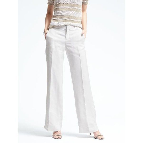 Banana Republic Womens Blake Fit Linen Blend Wide Leg Pant ($88) ❤ liked on Polyvore featuring pants, white, white trousers, petite wide leg pants, white wide leg pants, white short pants and wide leg pants