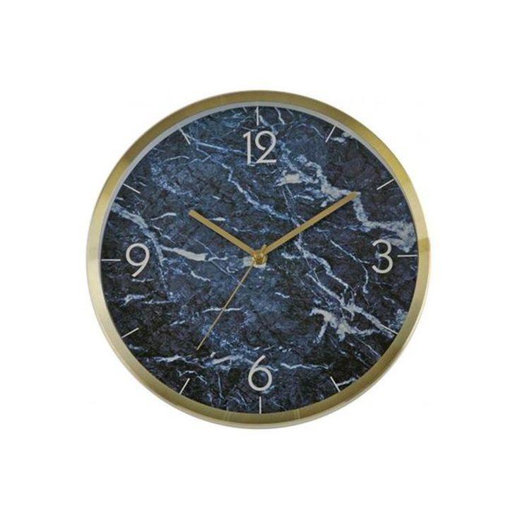 Horloge Ronde D31 Impression Marbre Bleu Ametrine – Taille : Taille Unique