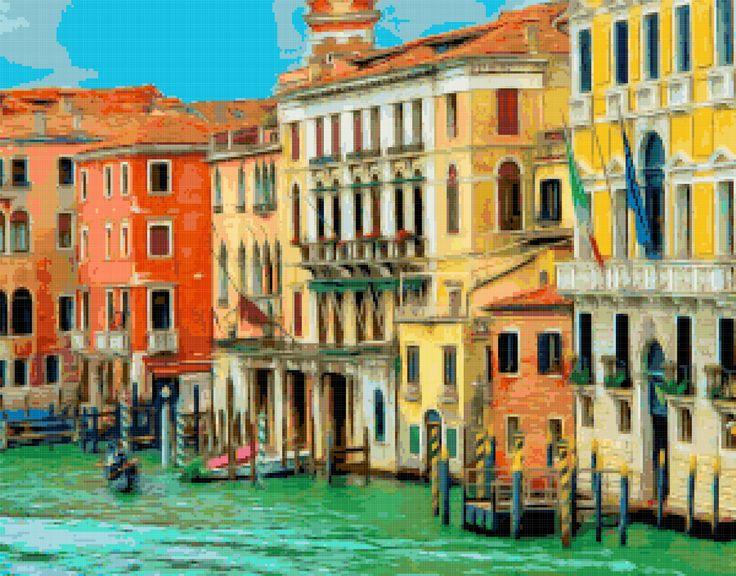Venice. Grand Canal. Free cross stitch pattern