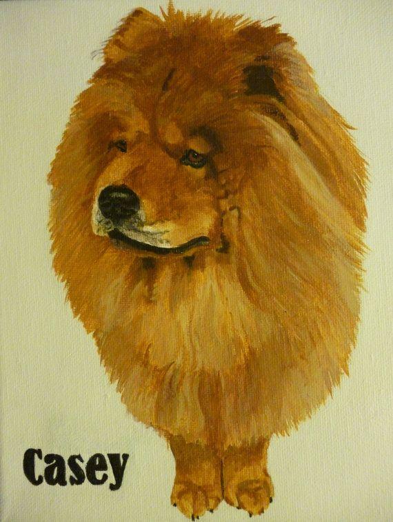 Cinnamon Chow Chow Pet Portrait Original Oil Painting by pigatopia, $130.00