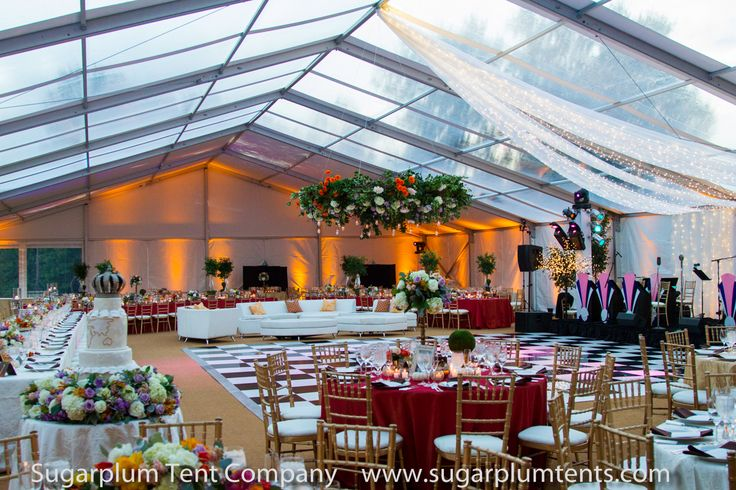This large wedding tent is a structure tent and features clear panels, making it a SKYLIGHT tent!