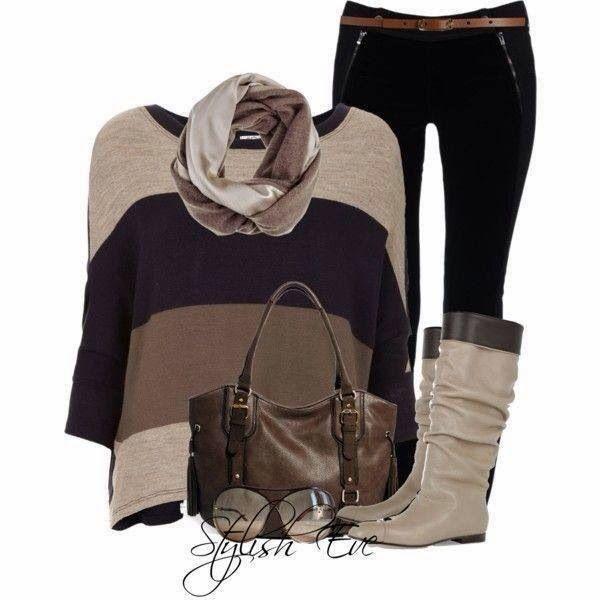 Stylish sweeter, scarf, pants, long boots and handbag for fall
