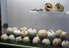 Depot of several hundred clay grenades dated to 17th century from the castles moat of Ingolstadt, Bavaria, Germany.