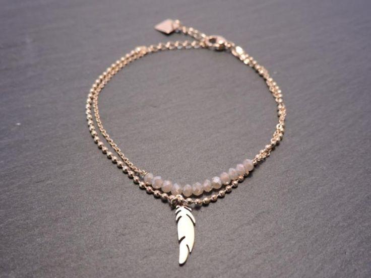 Bracelet ZAG acier doré cristaux plume