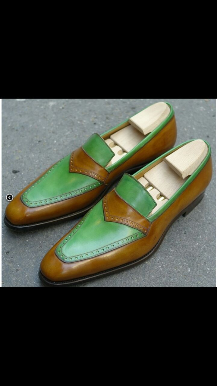 Handmade men tow tone brown green shoes, men leather shoes, men dress loafer sho - Dress/Formal